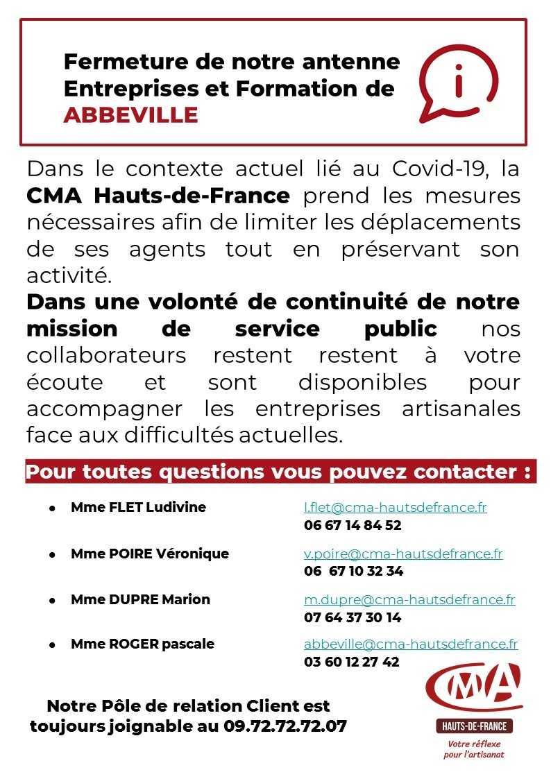 Chambre des métiers et de l'artisanat – Fermeture de l'antenne Entreprise et Formation d'Abbeville