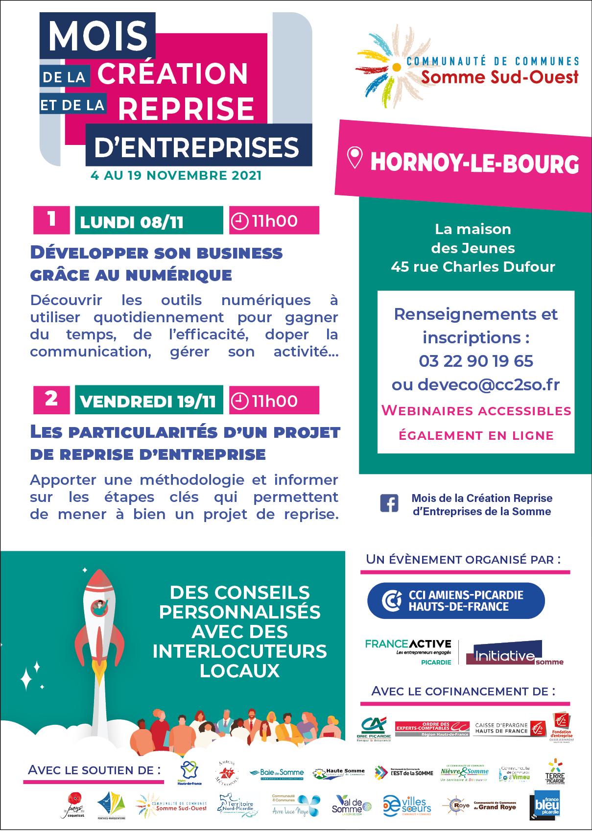 Mois de la création et de la reprise d'entreprises 2021 : ateliers à Hornoy-le-Bourg